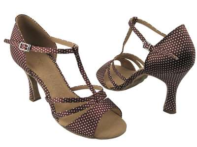 Style SERA1683 Coffee & White Dots - Ladies Dance Shoes | Blue Moon Ballroom Dance Supply