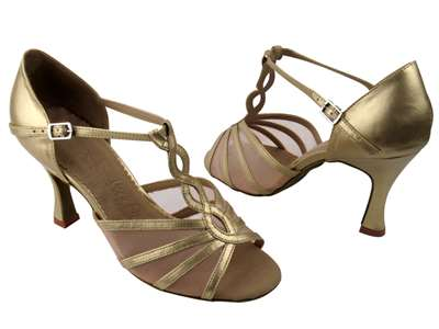 Style SERA1692 Light Gold & Flesh Mesh - Ladies Dance Shoes | Blue Moon Ballroom Dance Supply