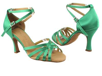Style SERA2613 Green Satin - Ladies Dance Shoes | Blue Moon Ballroom Dance Supply