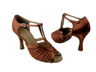 Style SERA2707 Dark Tan Satin - Ladies Dance Shoes | Blue Moon Ballroom Dance Supply