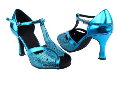 Style SERA2800 Blue Scale & Metalic Blue - Ladies Dance Shoes | Blue Moon Ballroom Dance Supply