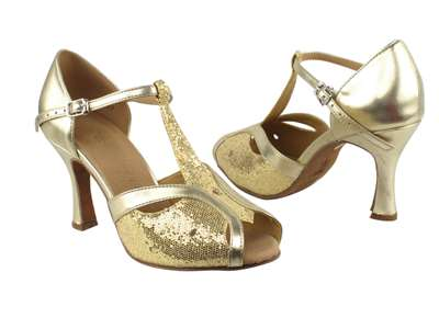 Style SERA2800 Gold Scale & Light Gold - Ladies Dance Shoes | Blue Moon Ballroom Dance Supply