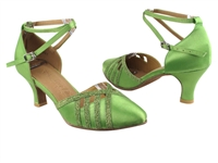 Style SERA3530 Green Satin & Green Stardust Trim - Ladies Dance Shoes | Blue Moon Ballroom Dance Supply