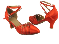 Style SERA3530 Red Satin & Red Stardust Trim - Ladies Dance Shoes | Blue Moon Ballroom Dance Supply