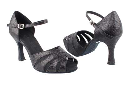 Style SERA3850 Black Stardust & Black Mesh - Ladies Dance Shoes | Blue Moon Ballroom Dance Supply