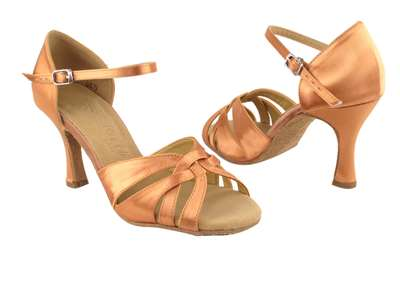 Style SERA6721 Tan Satin - Ladies Dance Shoes | Blue Moon Ballroom Dance Supply