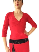 Style 3/4 Sleeve Stretch Velvet Tango Top - Dancewear | Blue Moon Ballroom Dance Supply