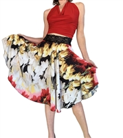 Style Red Tulip Print  Charmeuse Circle Tango Skirt - Dancewear | Blue Moon Ballroom Dance Supply