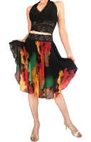 Style Fire Splatter Print  Chiffon Circle Tango Skirt - Dancewear | Blue Moon Ballroom Dance Supply