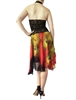 Style Red Peacock Print  Chiffon Circle Tango Skirt - Dancewear | Blue Moon Ballroom Dance Supply
