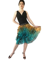 Style Turquoise Print  Chiffon Circle Tango Skirt - Dancewear | Blue Moon Ballroom Dance Supply
