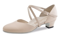 "Style WK Felice Beige Leather 1.5"" Heel - Women's Dance Shoes 