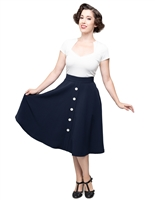 Button Thrills Vintage Circle Skirt in Navy - Ladies Casualwear  | Blue Moon Ballroom Dance Supply
