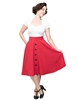Button Thrills Vintage Circle Skirt in Red- Ladies Casualwear  | Blue Moon Ballroom Dance Supply