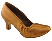 "Style SDS Taurus Dark Tan Satin 2"" Heel - Women's Dance Shoes 