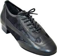 Style Ultimate Ladies Lacey Black Leather & Mesh Practice | Blue Moon Ballroom Dance Supply
