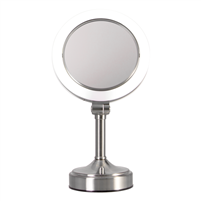 "Surround Lightâ""¢ Pedestal Vanity Mirror Dual-Sided 1X/10X"