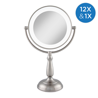 Dimmable Touch Dual-Sided LED Lighted Mirror 1X/12X