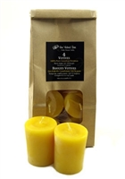 BEESWAX VOTIVES, 4 Pack