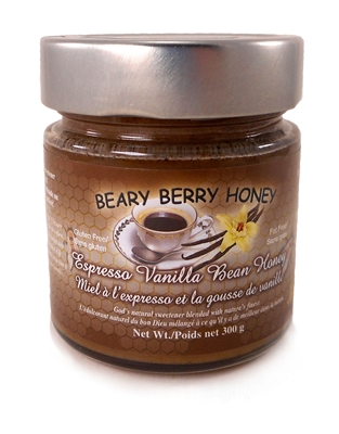Creamed honey mixed with organic espresso and organic vanilla bean.