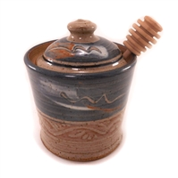 Ceramic Honey Pot - grey