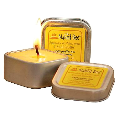 The Naked Bee Candle - square tin candle, the honey bee store