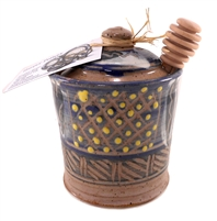Ceramic Honey Pot - Blue with yellow dots. The Honey Bee Store Niagara.