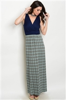Navy Mint Maxi Dress