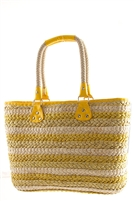 Yellow Summer Straw Tote Bag