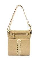 Beige Studded Messenger Bag