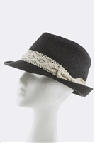 Black Lace bow woven Fedora