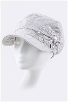 White Pearls and Bow Fashion Hat