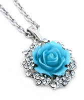 Silver Turquoise Flower with Rhinestone Pendant Necklace