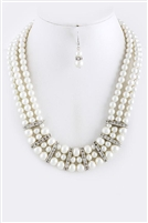 Pearl Crystal Necklace and Earring Set
