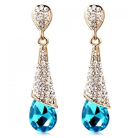Blue Rhinestone Gem Drop Earrings
