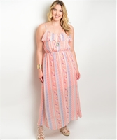 Peach Plus Size Maxi Dress