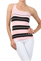 Pink Multi One Shoulder Stripe Top
