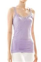 Lavender Seamless Tank with Lace Trim