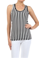 Black/White Striped Tank Top with a Racerback
