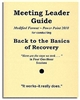 Back to the Basics of Recovery Meeting Leader Guide 150 page, 3-ring binder contains all the materials necessary to take people through the Twelve Steps in four, 45 minute sessions. This Guide has been modified to apply all addictive/compulsive behaviors.