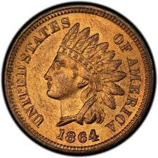 1864 Indian Head Penny Bronze