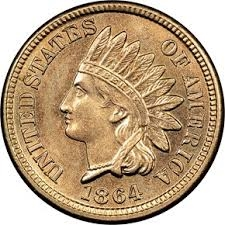 1864 Indian Head Penny Copper Nickel