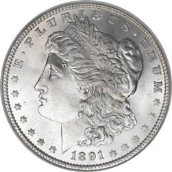 1891 Morgan Silver Dollars