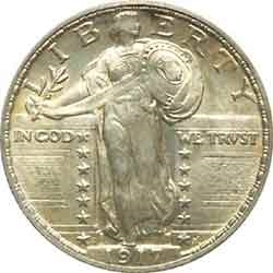 1917-D Type 2 Standing Liberty Quarter