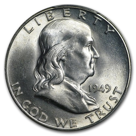 1949 Franklin Half Dollar Fifty Cents 90/% Silver