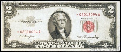 1953 $2 Red Seal U S  Currency Notes For Sale