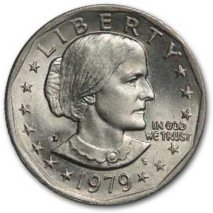 1979-D SBA Roll of 25 Susan B Anthony $1 Dollar Coins in Tube