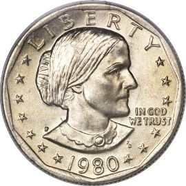 1980 Dollar Coin Susan B Anthony Dollar One Dollar Coin