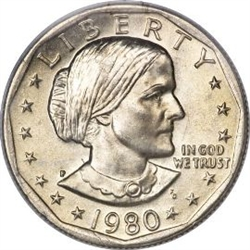 1980-D Susan B Anthony Dollar Coin