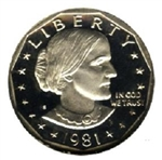 1981-S Proof Susan B Anthony Dollar Coin